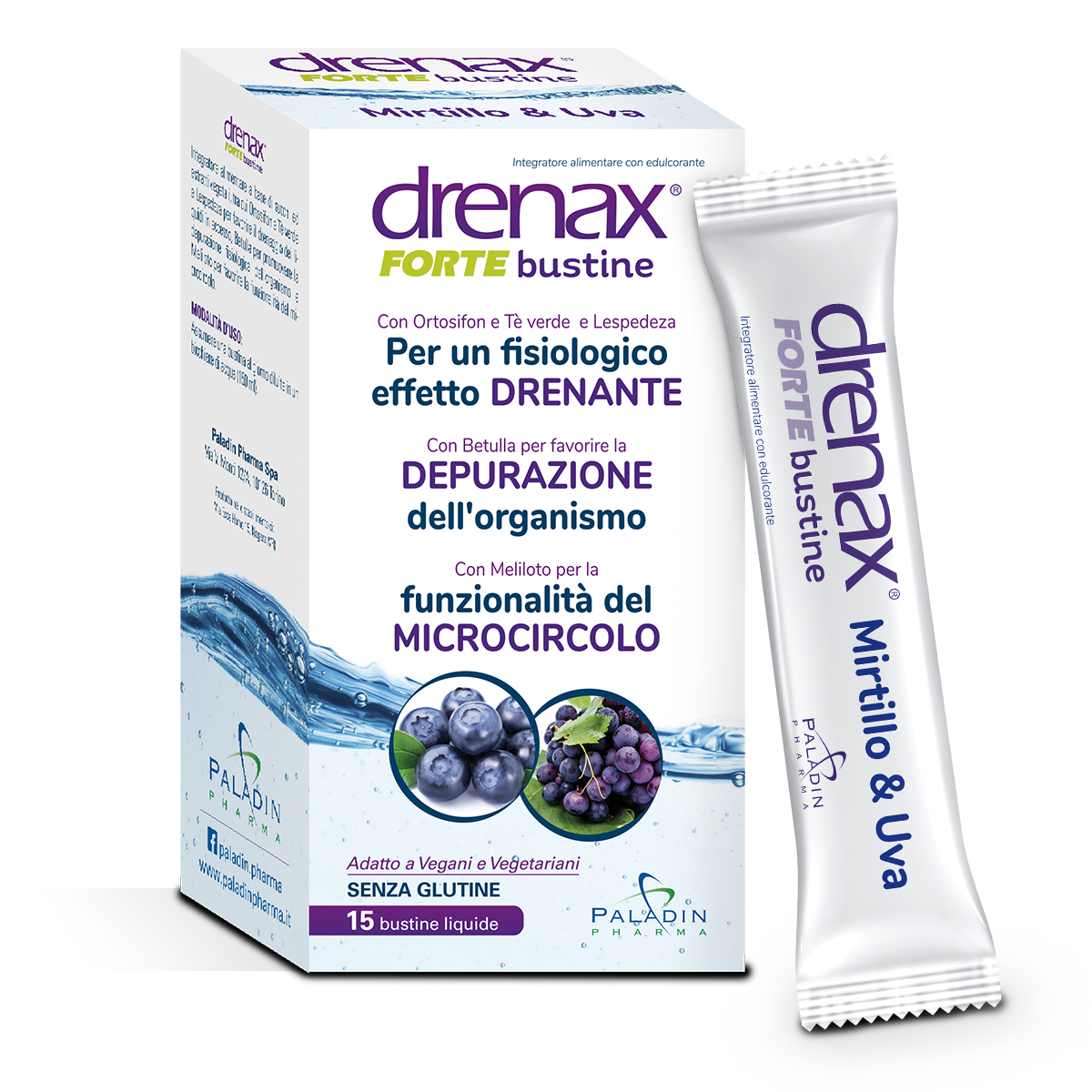 Drenax Forte Bustine Stick Pack Mirtillo